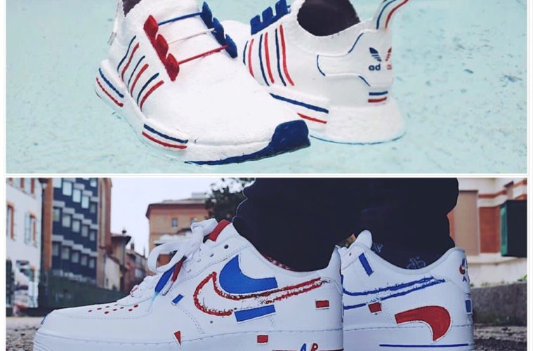 Sneakers Customs Des BleusSon Pour Les Of Supporter WEDIH9Y2